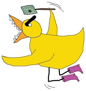 Fly swatting duck