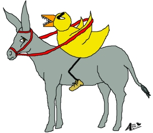 Duck on donkey