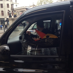 Giant Angry Duck in a London black cab