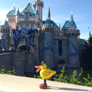 Angry Duck in front of Sleeping Beauty's castle, Disneyland